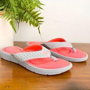 Nike Gray Orange Comfort Footbed Flip Flop WM 8